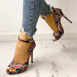 Remishoes Ethnic Print Peep Toe Ankle Strap Thin Heeled Sandals