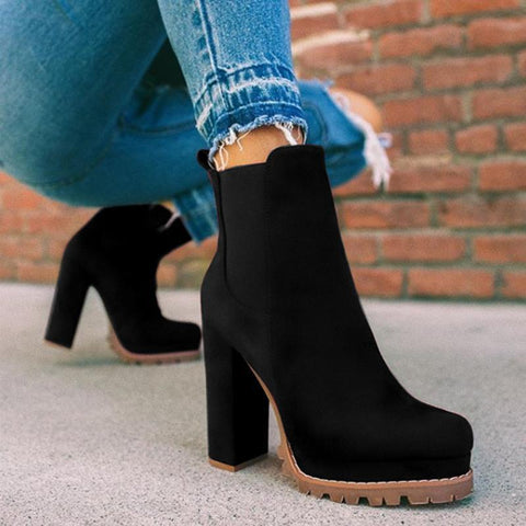 Remishoes Elastic Panel Slip On Chunky Heel Ankle Booties (Ship in 24 Hours)