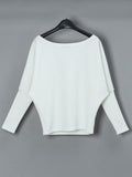 Remishoes Skew Neck Batwing Sleeve Casual Sweater