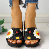 Remishoes Colorful Smile Sunflower Emblished Beach Slippers