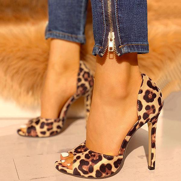 Remishoes Leopard Suede Thin Heeled Heels