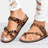 Remishoes Leather Strap Buckle Flats Sandals