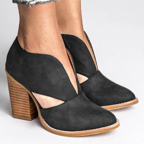 Remishoes Round Toe Women Chunky Heel Casual Pu Ankle Boots