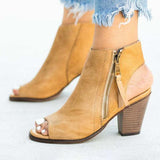 Remishoes Casual Pu Chunky Heel  Peep Toe Zipper Boots