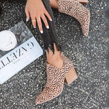 Remishoes Fashion Stylish Pointed Toe Leopard Booties(ship in 24 hours)