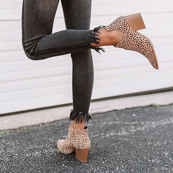 Remishoes Fashion Stylish Pointed Toe Leopard Booties