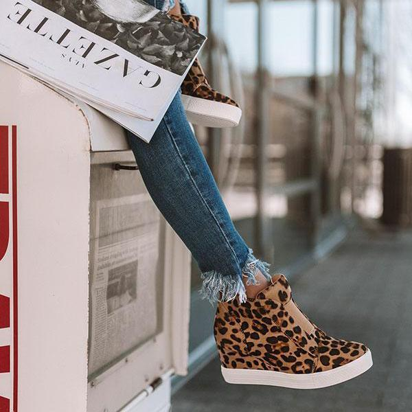 Remishoes Women Casual Leopard Wedge Heel Sneakers