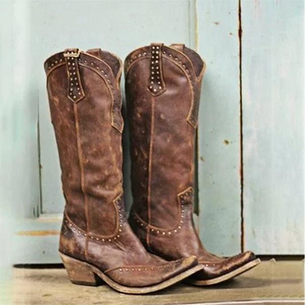 Remishoes Bohemia Cowgirl Boots Medium Heel Retro Boots
