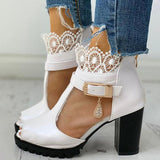 Remishoes Peep Toe Lace Mesh Insert Chunky Heel Boots