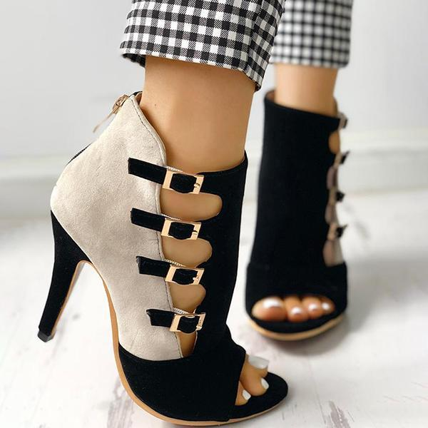 Remishoes Colorblock Splicing Hollow Out Buckled Thin Heels