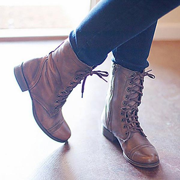 Remishoes Women Casual Comfort PU Lace Up Booties
