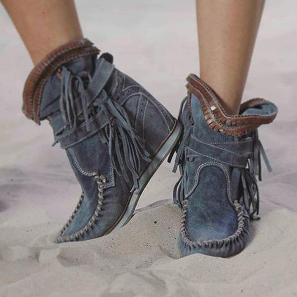 Remishoes Casual Tassel Faux Suede All Season Boots