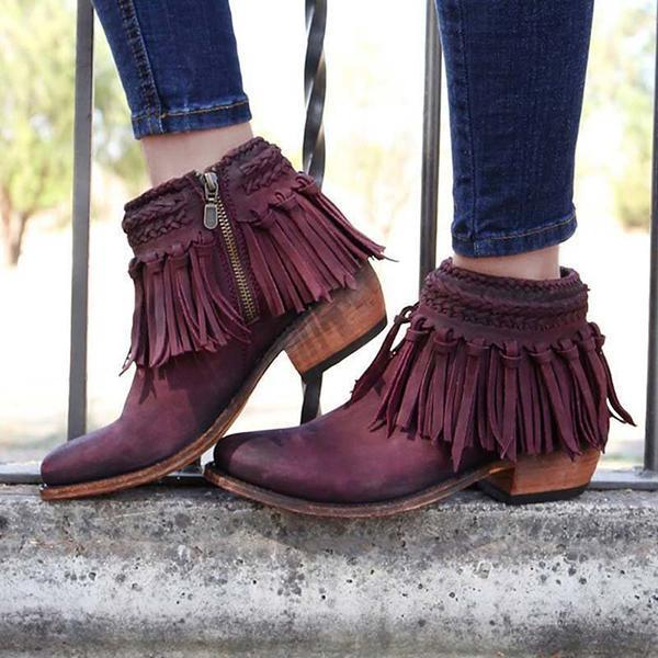 Remishoes Tassel Ankle Booties Zipper Vintage Boots