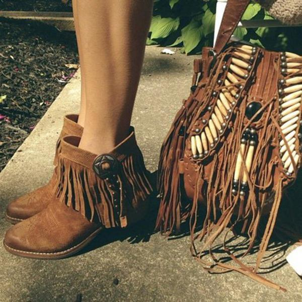 Remishoes Round Toe Retro Artificial Suede Spring/fall Tassel Women Ankle Boots