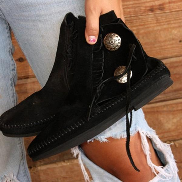 Remishoes Women Tassel Vintage Button Ankle Boots