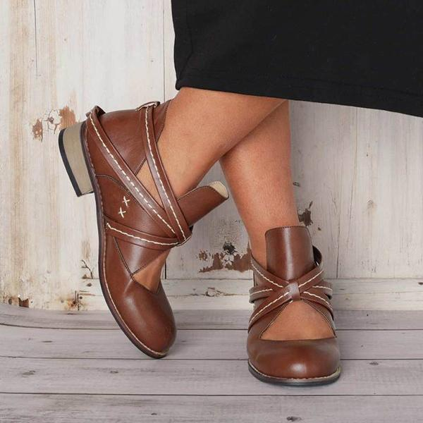 Remishoes Vintage Ankle Casual Chic Hollow Out Boots