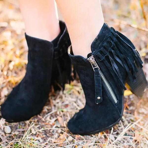 Remishoes Women's Vintage Chunky Heel Booties
