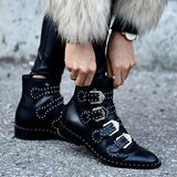 Remishoes Women Stylish Pointed Toe Rivets Ankle Boots