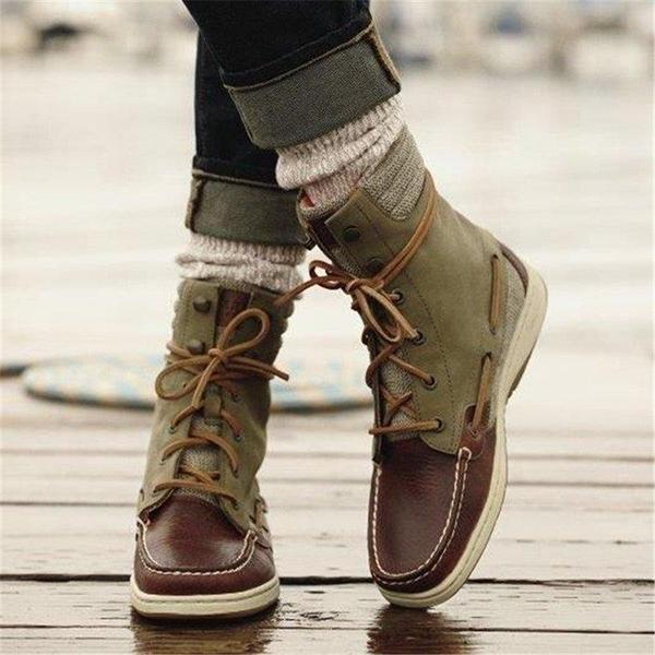 Remishoes Women Casual Lace-Up Flat Heel Ankle Boots