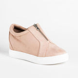 Remishoes Casual Round Toe Suede Zipper Sneakers