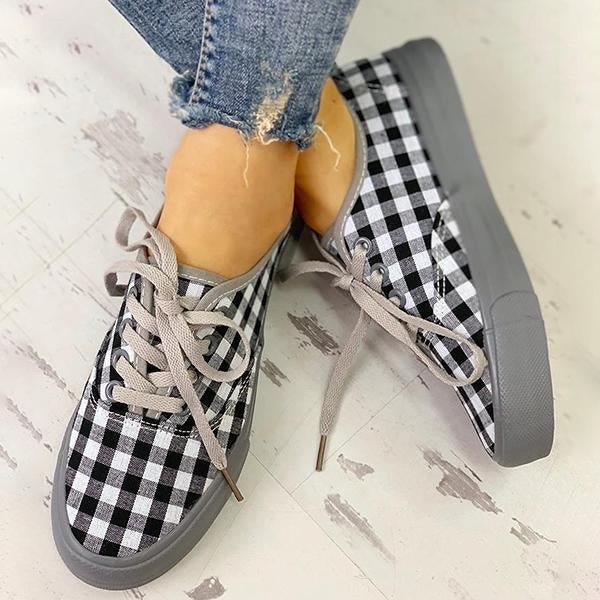 Remishoes Plaid Insert Lace-Up Casual Sneakers