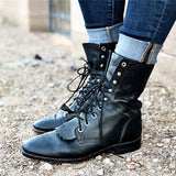 Remishoes Women Vintage Soft Leather Lace Up Boots