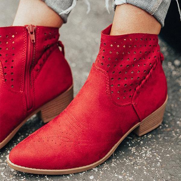 Remishoes Stylish Point Toe Zipper Ankle Boots