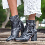 Remishoes Vintage High Heel Thick Ankle Boots