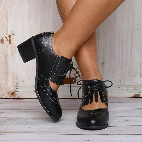 Remishoes Black Chunky Heel Ankle Round Toe Women Oxfords