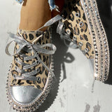 Remishoes Leopard Rivet Embellished Lace-Up Sneakers