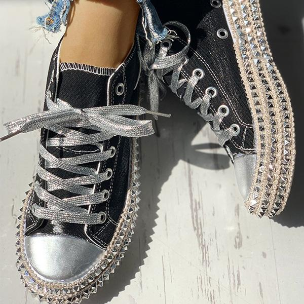 Remishoes Fashion Leopard Rivet Embellished Lace-Up Sneakers
