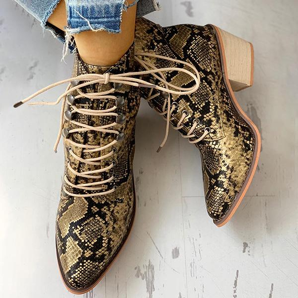 Remishoes Pointed Toe Lace-up Snakeskin Chunky Heeled Boots