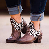Remishoes Women Vintage Slip-On Chunky Heel Ankle Boots