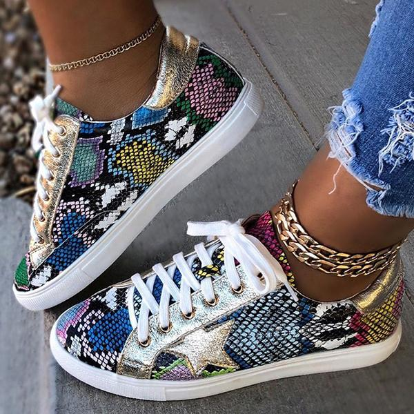 Remishoes Snakeskin Star Design Lace-Up Sneakers
