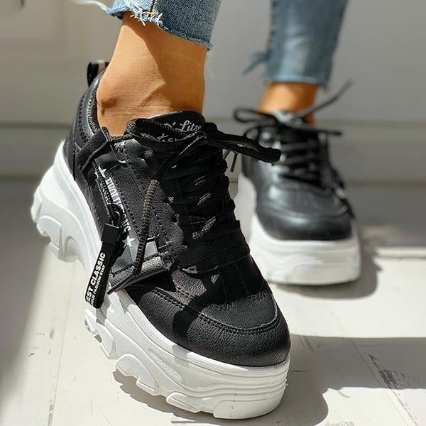 Remishoes PU Platform Lace-Up Casual Sneakers