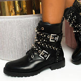 Remishoes Stylish Pu Zipper Shoes Studded Biker Boots