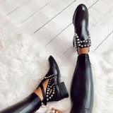 Remishoes Daily Black Adjustable Buckle Rivet Boots