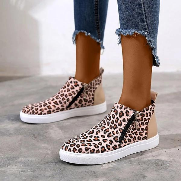 Remishoes Round Toe Platform Zipper Daily Sneakers