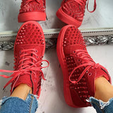 Remishoes Solid Studded Eyelet Lace-Up Casual Sneakers
