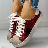 Remishoes Colorblock Star Embellished Lace-up Sneakers