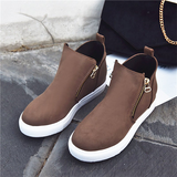 Remishoes Casual Double Side Zipper Flat Suede Sneakers