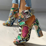 Remishoes Snakeskin Ankle Buckled Chunky Heels