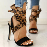 Remishoes Leopard Suede Peep Toe Thin Heels