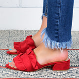 Remishoes Open Toe Ruffle Slides Slippers