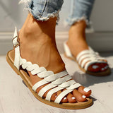 Remishoes Solid Hollow Out Open Toe Flat Sandals