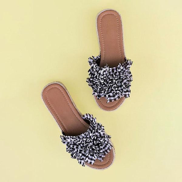 Remishoes Lace Slip on Leopard Sandal