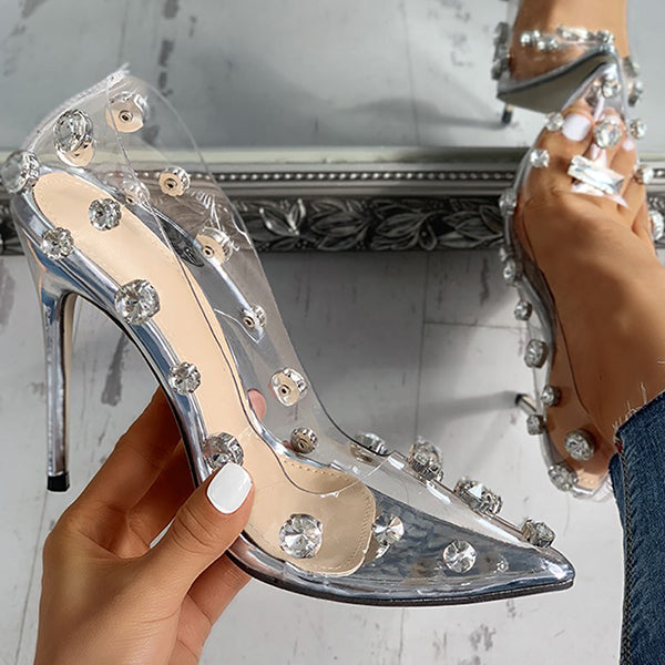 Remishoes Transparent Studded Thin Heels