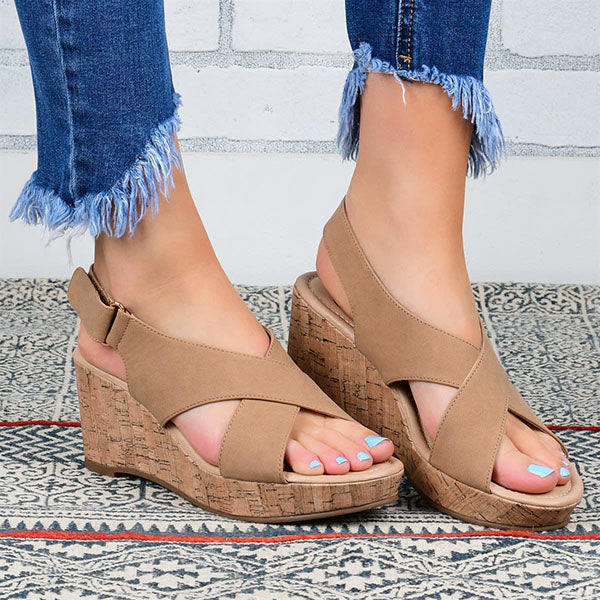 Remishoes Comfy Crisscross Wedge Heels