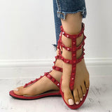 Remishoes Rivet Multi Strap Toe Post Flat Sandals