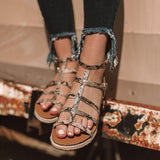 Remishoes Annalise Snake Print Flat Sandals